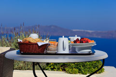 Delicious breakfast by the sea Stock Photo