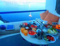 Delicious breakfast by the sea, Santorini Stock Photos