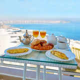 Delicious breakfast with sea view Stock Photo