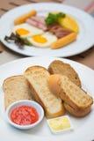 Delicious breakfast set in morning Stock Photos