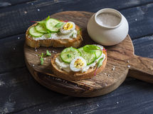 Delicious breakfast or snack - open sandwich with goat's cheese and cucumber and boiled quail eggs Royalty Free Stock Images