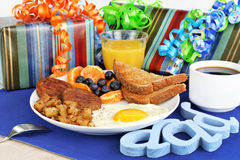 Delicious breakfast for a special dad. Royalty Free Stock Photos