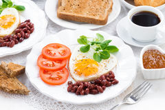 Delicious breakfast for Valentine's Day, horizontal Royalty Free Stock Photo