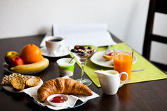 Delicious Breakfast With Croissant Stock Photo