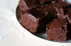 Delicious Brownies. Delicious chocolate brownies on a plate Royalty Free Stock Photo