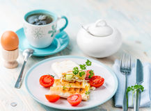 Delicious brunch with vegetarian sandwich, boiled egg Stock Photo