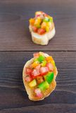 Delicious bruschetta with paprika and herbs Stock Photos