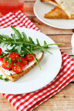 Delicious bruschetta with tomato and cheese on a plate Stock Photography