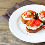 Delicious bruschetta with vegetables Stock Photo