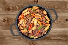 Buckwheat Noodles On Dark Background Stock Images