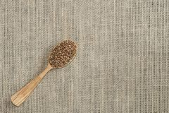 Buckwheat with a wooden spoon in the background / texture. Delicious buckwheat in a wooden spoon on burlap in the background / texture royalty free stock photos