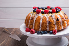 Delicious bundt cake with berries Stock Photography