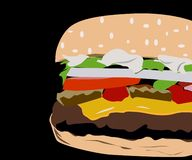 Delicious buns hamburger ready for you stock illustration
