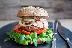 Delicious burger with bacon and fried onion stock image