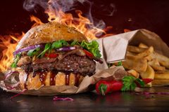 Delicious burger with bbq sauce Stock Photography