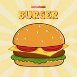 Delicious Burger Design Card With Text Royalty Free Stock Images