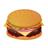 Delicious Burger. Fast food restaurant. Vector illustration. Stock Photography