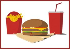 Delicious burger with french fries and cola Stock Photography