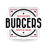 Delicious burger stamp vintage Royalty Free Stock Photos