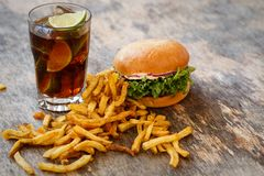 Delicious burger on the table Stock Photography