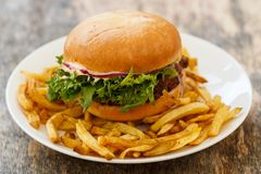 Delicious burger on the table Stock Images