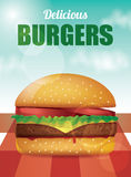 Delicious Burger - Vector Illustration. Delicious Burger with tomatoes, lettuce, cheese, meat and ketchup Stock Images