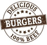 Delicious burgers 100% beef stamp. Round stamp in retro style Stock Photos