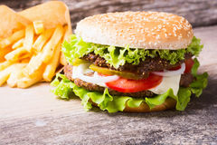 Delicious burgers with beef Stock Photos