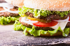 Delicious burgers with beef Royalty Free Stock Images