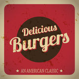 Delicious Burgers Retro Banner Royalty Free Stock Photography