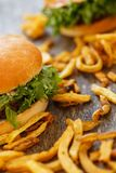 Delicious burgers on the table Stock Photography