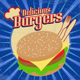 Delicious Burgers vintage poster Stock Photo