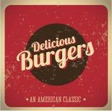 Delicious Burgers vintage print Stock Photo