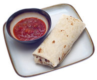 Delicious Burrito with Salsa Stock Images