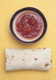 Delicious Burrito with Salsa Stock Photography