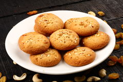 Delicious Butter  Cookies With Nuts And Raisins Stock Photos
