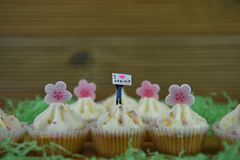 Delicious buttercream cupcakes topped with iced pink flower shapes and a miniature person figurine with springtime sign. Delicious homemade vanilla cupcakes with Royalty Free Stock Images