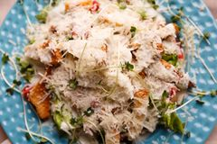 A delicious Caesar salad on a blue plate royalty free stock images
