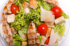 Delicious Caesar salad with grilled chicken meat Stock Photography