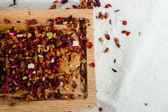 Delicious caffeine-free infusion of dried fruit, acai and goji be Stock Images