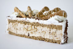 Delicious cake. Close up details of slice of delicious cake, isolated on white background Stock Image