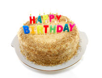 Delicious cake with candles Stock Image
