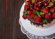 Delicious cake with cherry and strawberry, top view Royalty Free Stock Photography