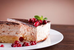 Delicious cake with chocolate frosting and berries royalty free stock image