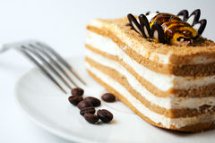 Delicious cake with coffee beans Royalty Free Stock Photo