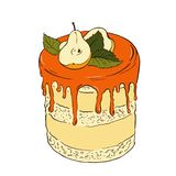 Cake with caramel and pear. Vector sketch. stock illustration