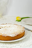 Italian cake. Delicious cake with cream on wooden table Stock Image