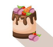 Delicious cake dessert Chocolate and strawberry and macaroons. Summer confectionery bakery treats Vector illustration Stock Photo