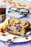 Delicious cake with fresh cherries and cup of tea Royalty Free Stock Photos