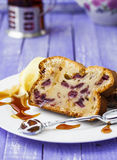 Delicious cake with fresh cherries and cup of tea. Delicious cake of cream cheese with fresh cherries Stock Photo